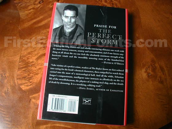Picture of the back dust jacket for the first edition of The Perfect Storm.