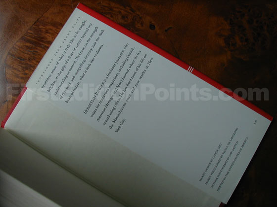 Picture of the back dust jacket flap for the first edition of The Perfect Storm.