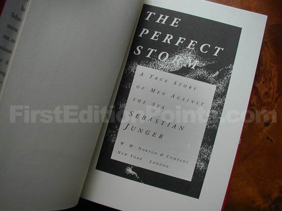 Picture of the first edition title page for The Perfect Storm.