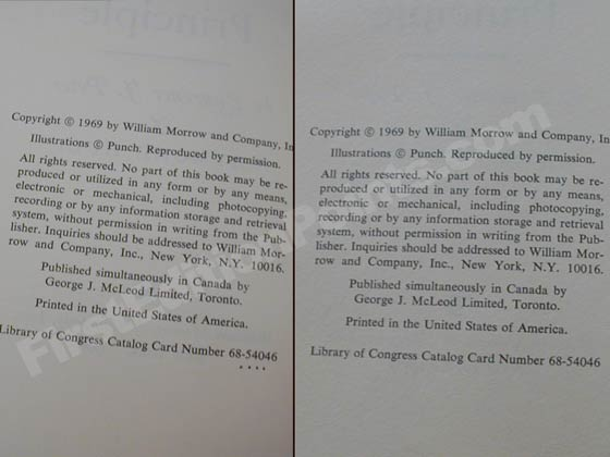 The copyright page on the left is from a fourth or (or possible a fifth) printing.  Note