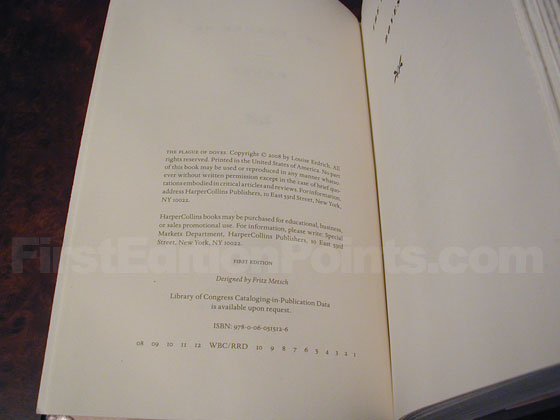 Picture of the first edition copyright page for The Plague of Doves.