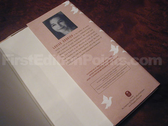 Picture of the back dust jacket flap for the first edition of The Plague of Doves.