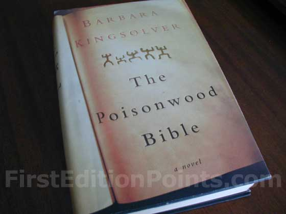 Picture of the 1998 first edition dust jacket for The Poisonwood Bible.