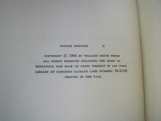 This is the copyright page from the fourth printing that was signed by Lyndon Johnson and