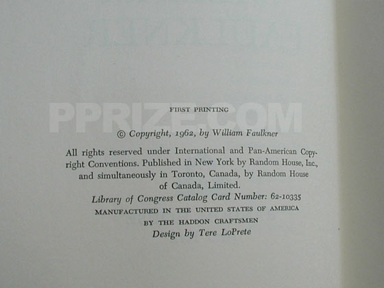 Picture of the first edition copyright page for The Reivers.