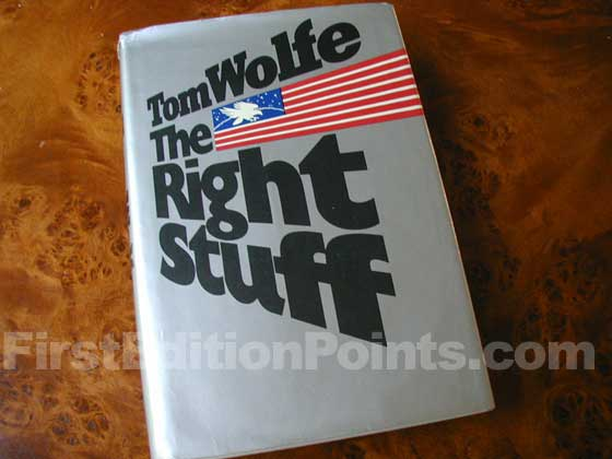 Picture of the 1979 first edition dust jacket for The Right Stuff.