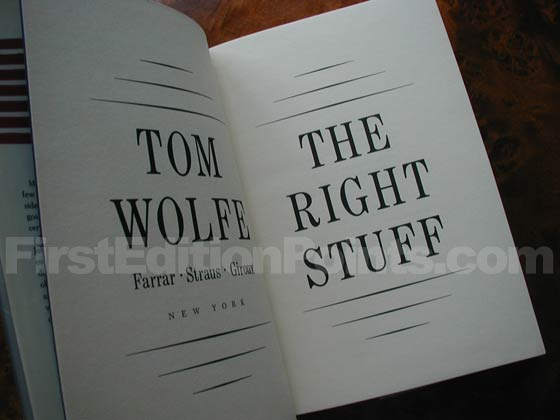 Picture of the first edition title page for The Right Stuff.
