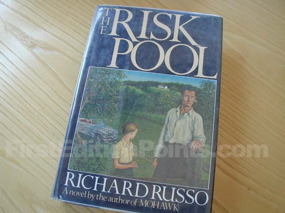 Picture of the 1988 first edition dust jacket for The Risk Pool.