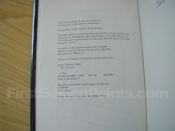 Picture of the first edition copyright page for The Risk Pool.