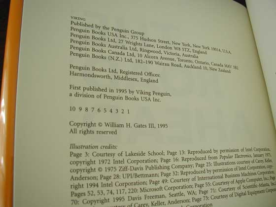 Picture of the first edition copyright page for The Road Ahead.