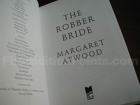 Picture of the first edition title page for The Robber Bride.