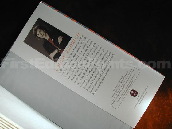 Picture of the back dust jacket flap for the first edition of The Round House.