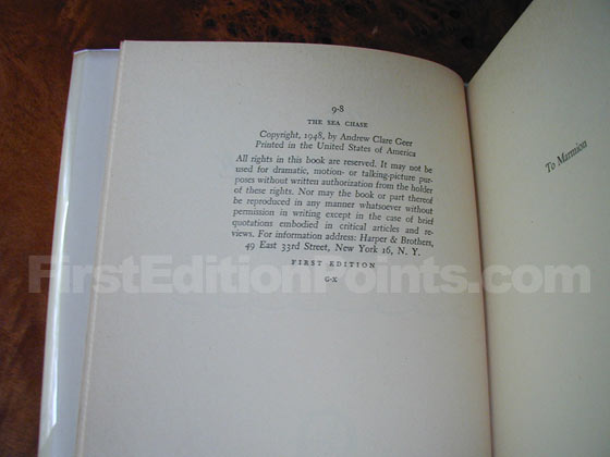 Picture of the first edition copyright page for The Sea Chase.