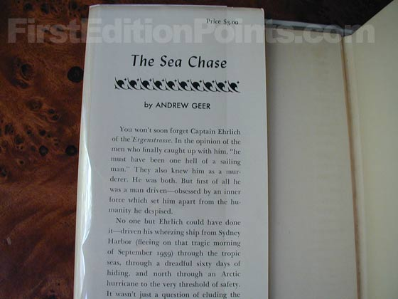 Picture of dust jacket where original $3.00 price is found for The Sea Chase.