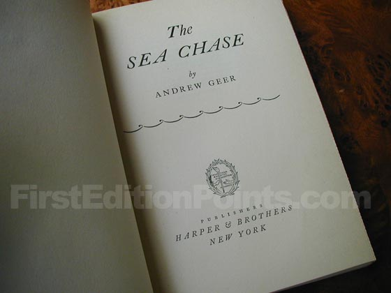 Picture of the first edition title page for The Sea Chase.