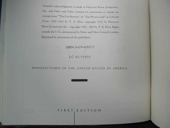 Picture of the first edition copyright page for The Secret History.