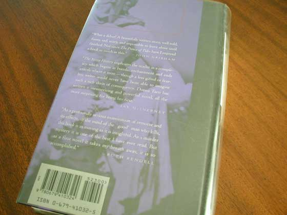 Picture of the back dust jacket for the first edition of The Secret History.