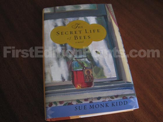 Picture of the 2002 first edition dust jacket for The Secret Life of Bees.