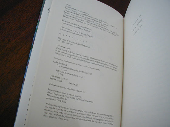 Picture of the first edition copyright page for The Secret Life of Bees.