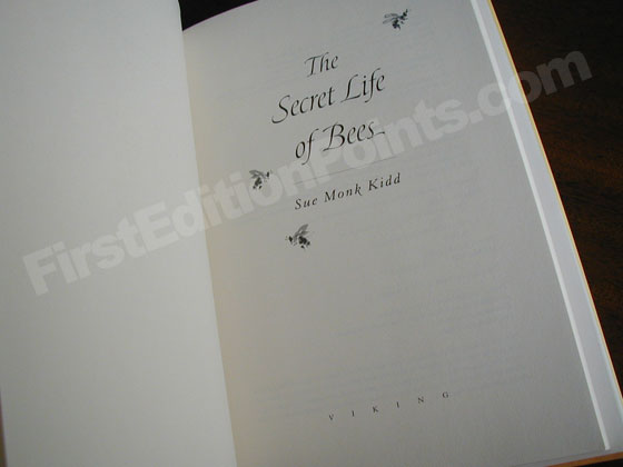 Picture of the first edition title page for The Secret Life of Bees.