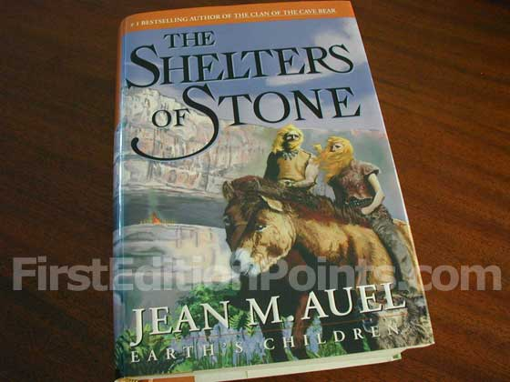Picture of the 2002 first edition dust jacket for The Shelters of Stone.