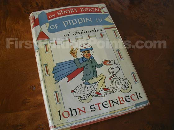 Picture of the 1957 first edition dust jacket for The Short Reign of Pippin IV.