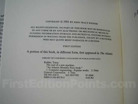 Picture of the first edition copyright page for The Soul of a New Machine.