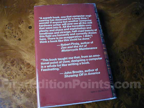 Picture of the back dust jacket for the first edition of The Soul of a New Machine.
