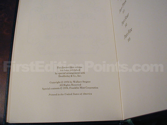 This is the copyright page of the limited first edition.