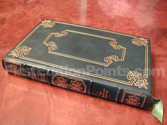 The limited first edition is bound in leather and has a raised spine.