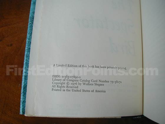 This is the copyright page from the first trade edition.  It states that a limited