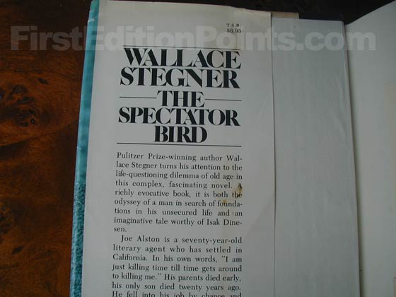 This is the front dust jacket flap from the first trade edition of The Spectator Bird