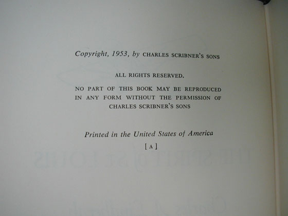 Picture of the first edition copyright page for The Spirit of St. Louis.