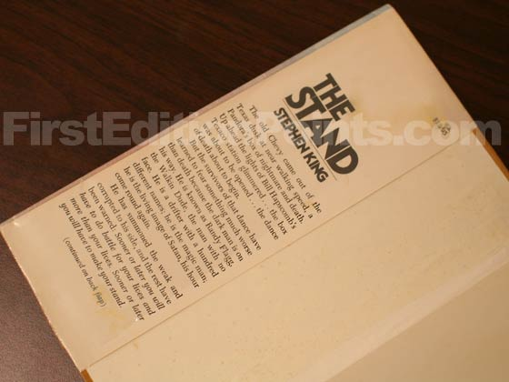 Picture of dust jacket where original $12.95 price is found for The Stand.