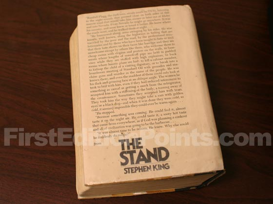 Picture of the back dust jacket for the first edition of The Stand.