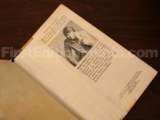 Picture of the back dust jacket flap for the first edition of The Stand.
