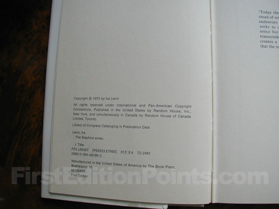 Picture of the first edition copyright page for The Stepford Wives.