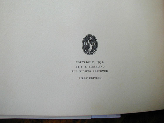 Picture of the first edition copyright page for The Store.