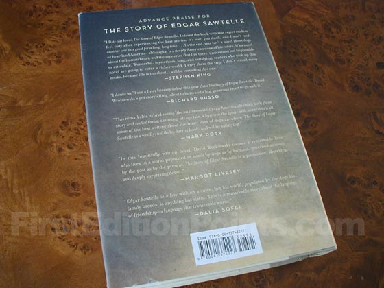 Picture of the back dust jacket for the first edition of The Story of Edgar Sawtelle.