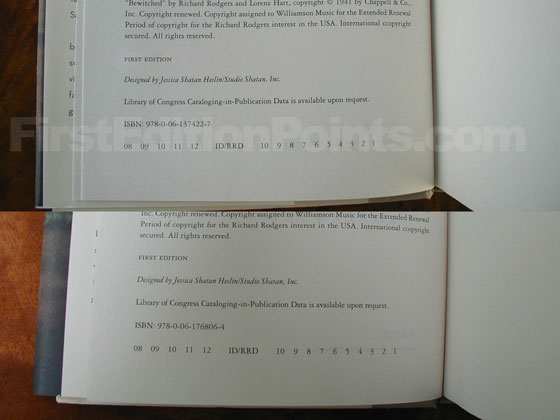 The true first edition's copyright page has ISBN 978-0-06-137422-7 and full number