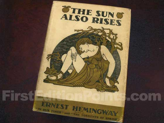 Picture of the 1926 first edition dust jacket for The Sun Also Rises.