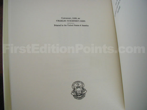 Picture of the first edition copyright page for The Sun Also Rises.