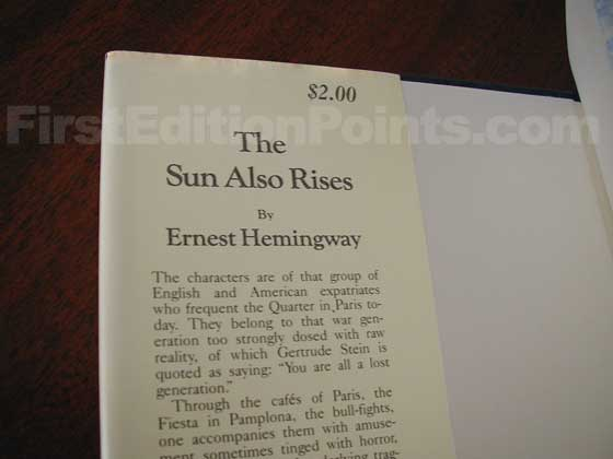 Picture of dust jacket where original $2.00 price is found for The Sun Also Rises.
