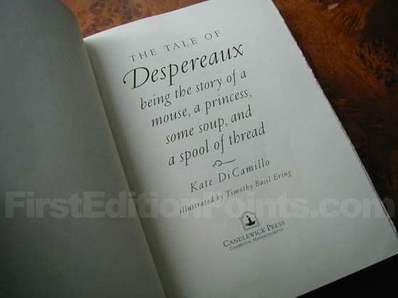 Picture of the first edition title page for The Tale Of Despereaux.