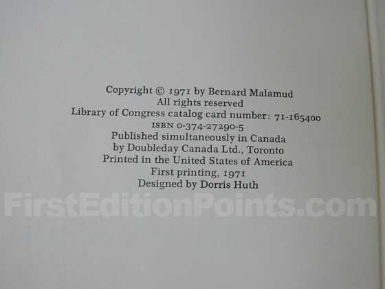 Picture of the first edition copyright page for The Tenants.