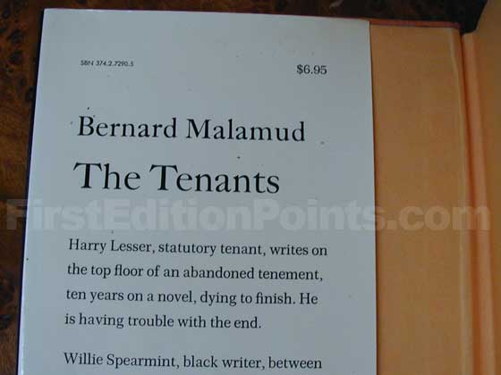 Picture of dust jacket where original $6.95 price is found for The Tenants.