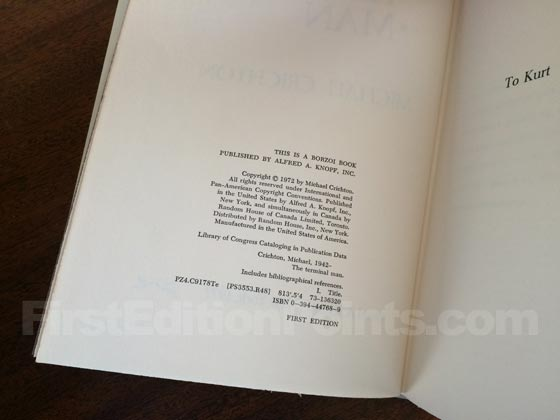 Picture of the first edition copyright page for The Terminal Man.