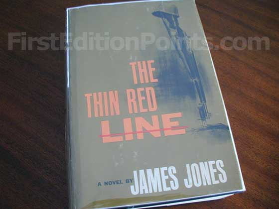 Picture of the 1962 first edition dust jacket for The Thin Red Line.