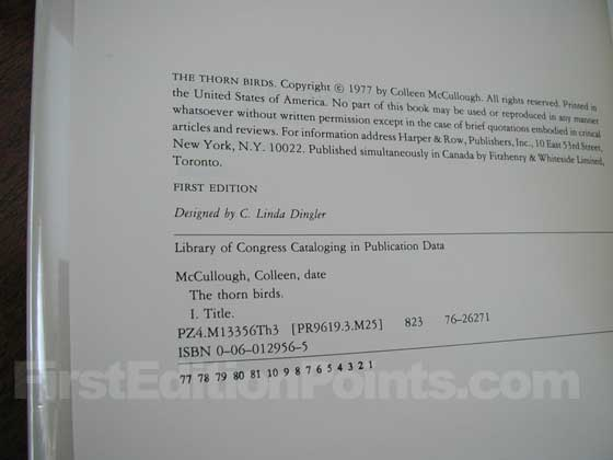 Picture of the first edition copyright page for The Thorn Birds.