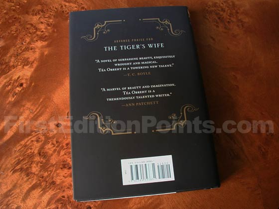 Picture of the back dust jacket for the first edition of The Tiger's Wife.